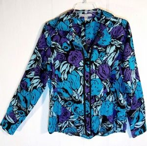 8 - Bold Fitted Abstract Floral Blouse by Foxcroft